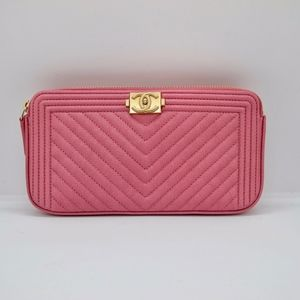 CHANEL ROSE PINK WALLET ON CHAIN CLUTCH BAG